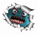 Ripped Torn Metal Design With Cute Blue Monster Motif External Vinyl Car Sticker 105x130mm